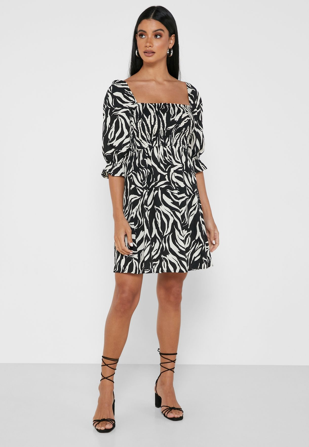 Collar Neck Printed Dress