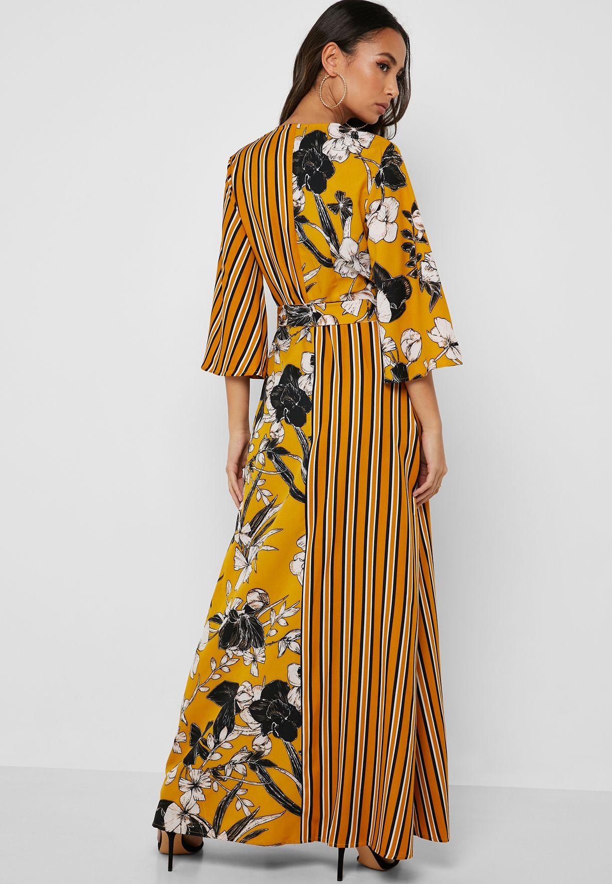 Striped Floral Print Wrap Dress