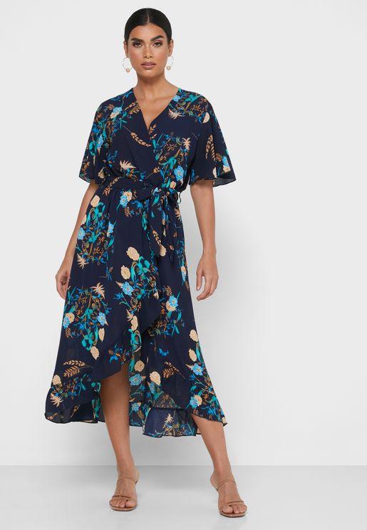 Floral Print Ruffle Hem Wrap Dress