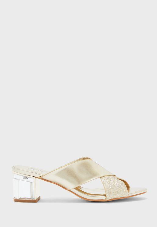 Cross Strap Low Heel Sandals