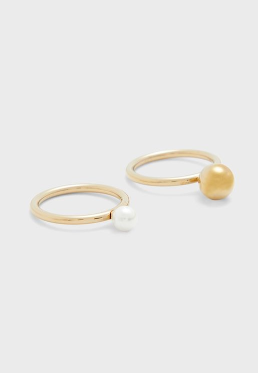 Shiny Champagne Pearl Ring Set