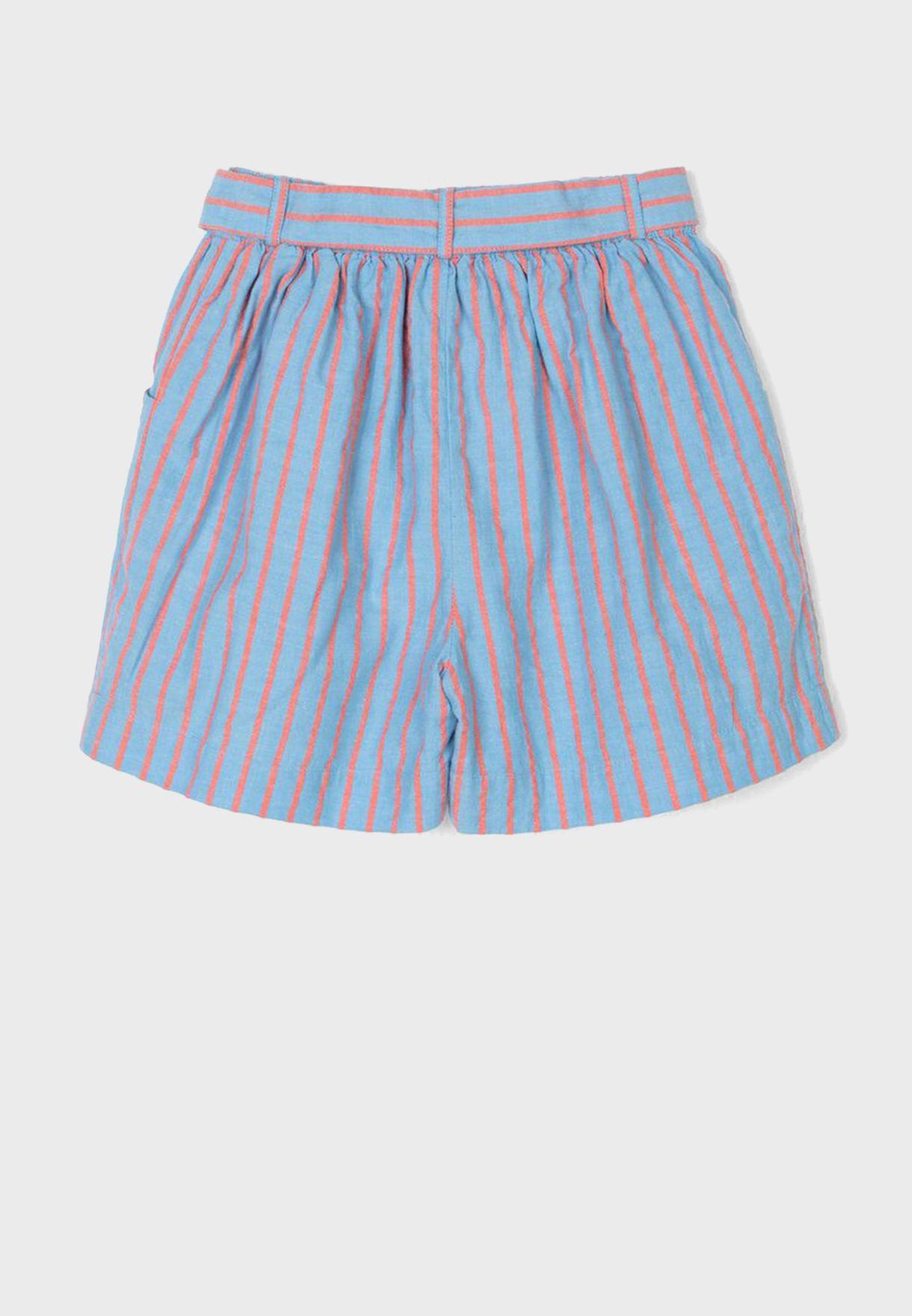 Kids Striped Knot Detail Shorts