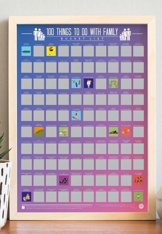ملصق العائلة يتضمن 100 اشياء لتفعلها