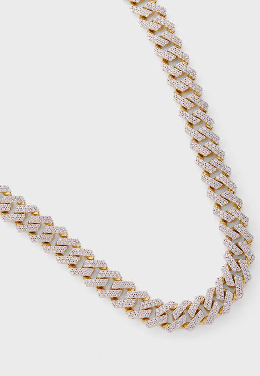 Straight Edge Diamond Chain Necklace - 22 Inches