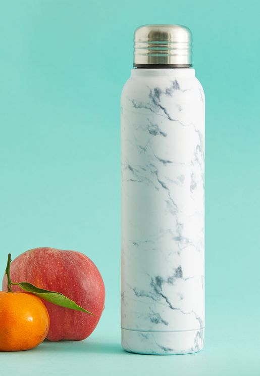 White Marble Drinks Bottle 350ml