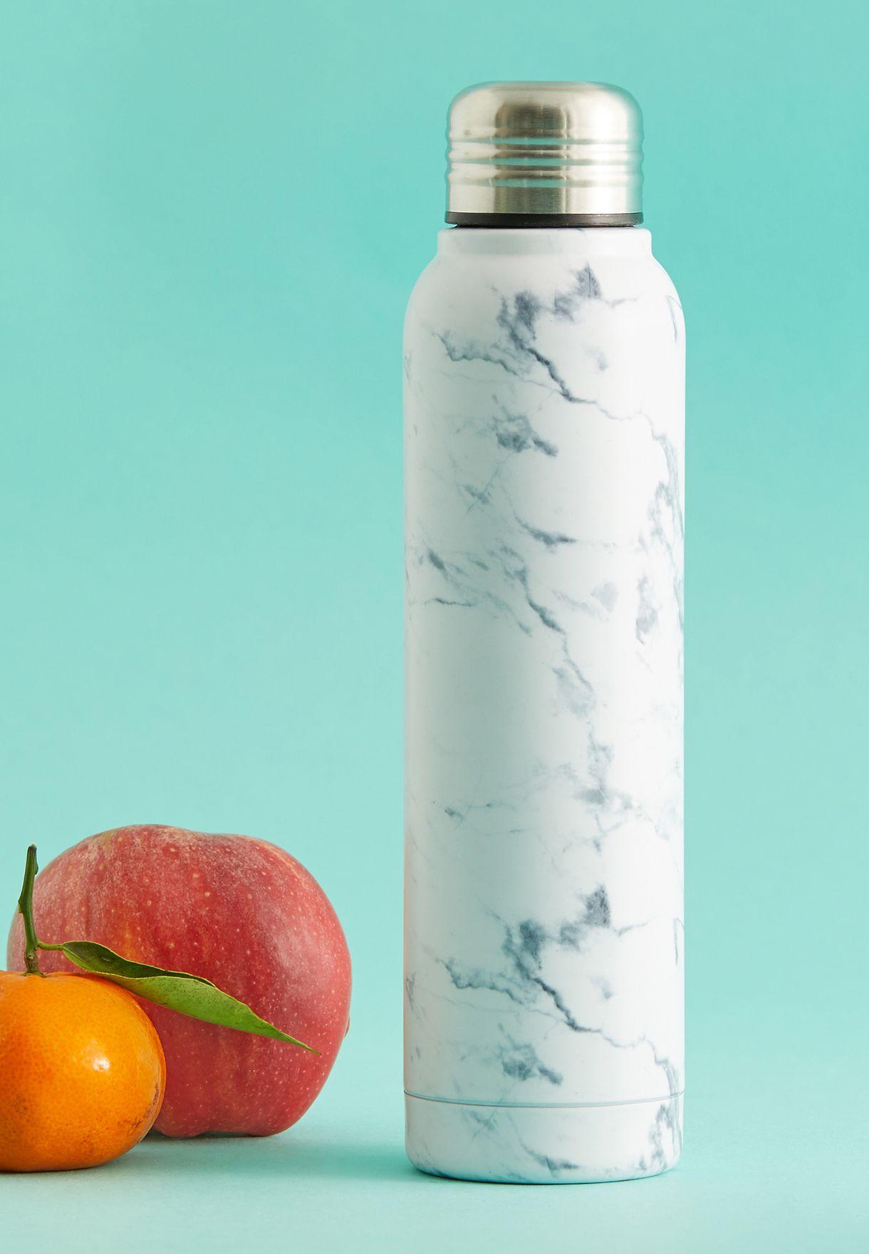 White Marble Drinks Bottle 350ml