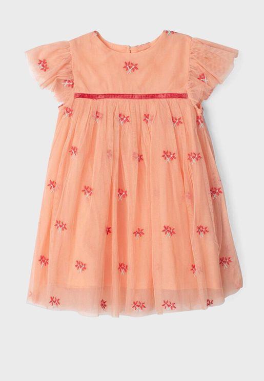 Infant Embroidered Flower Tulle Dress