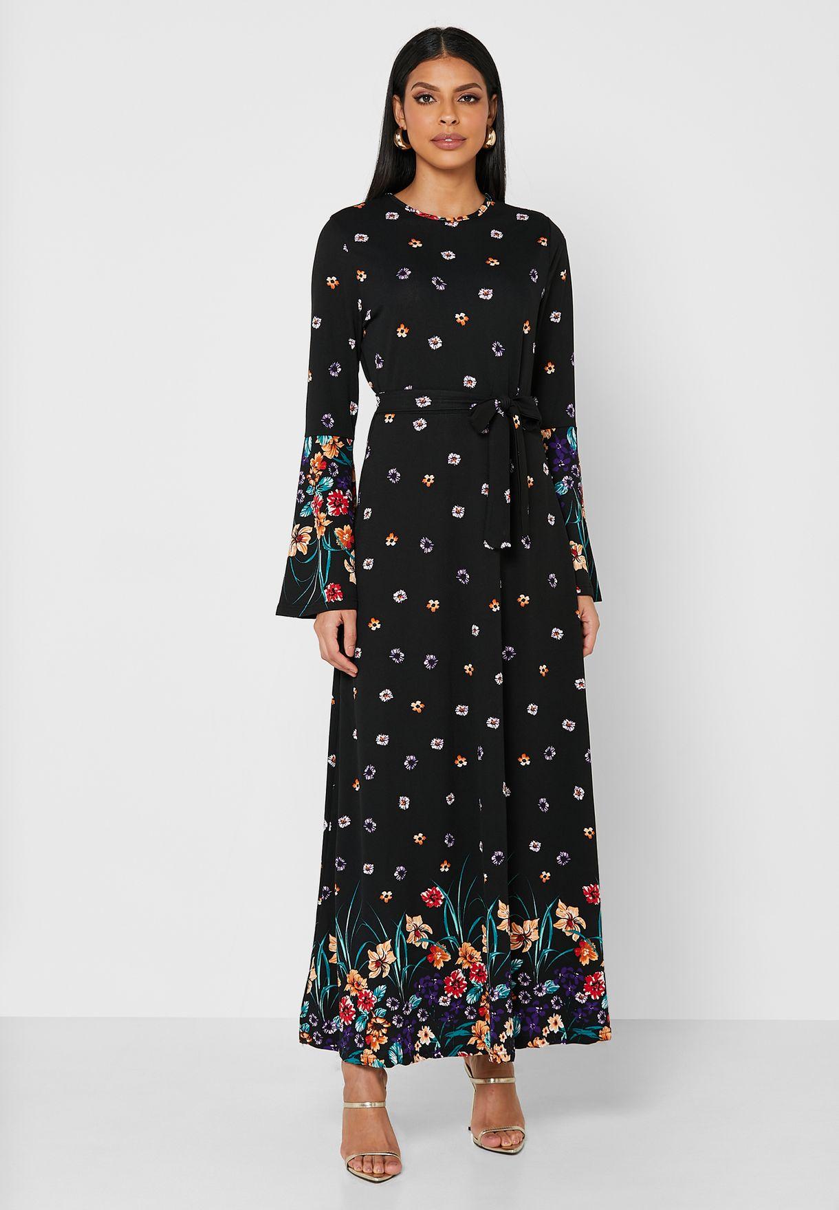 Wide Sleeves Floral Print Dress