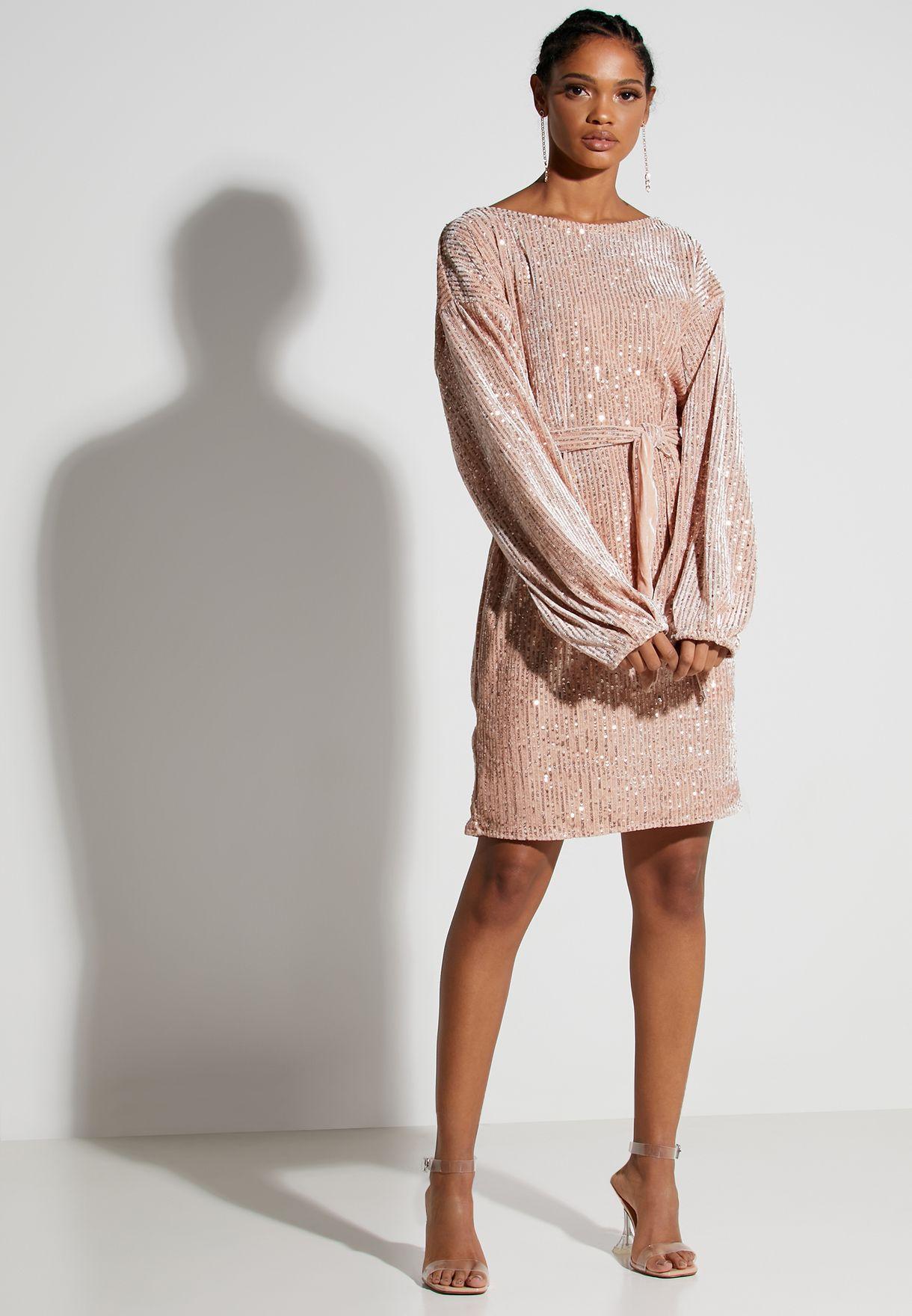 Sequin Self Tie Mini Dress