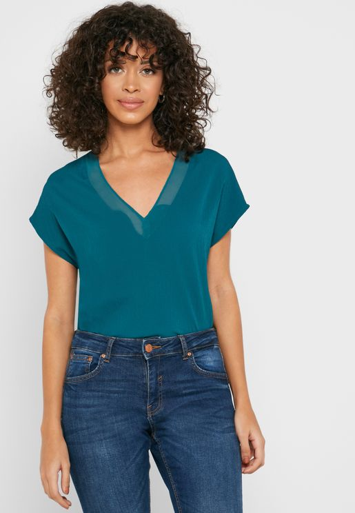 Mesh Trim V-Neck Top