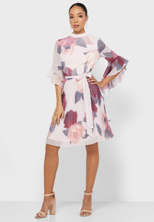 Ruffle Sleeve Printed Plisse Dress