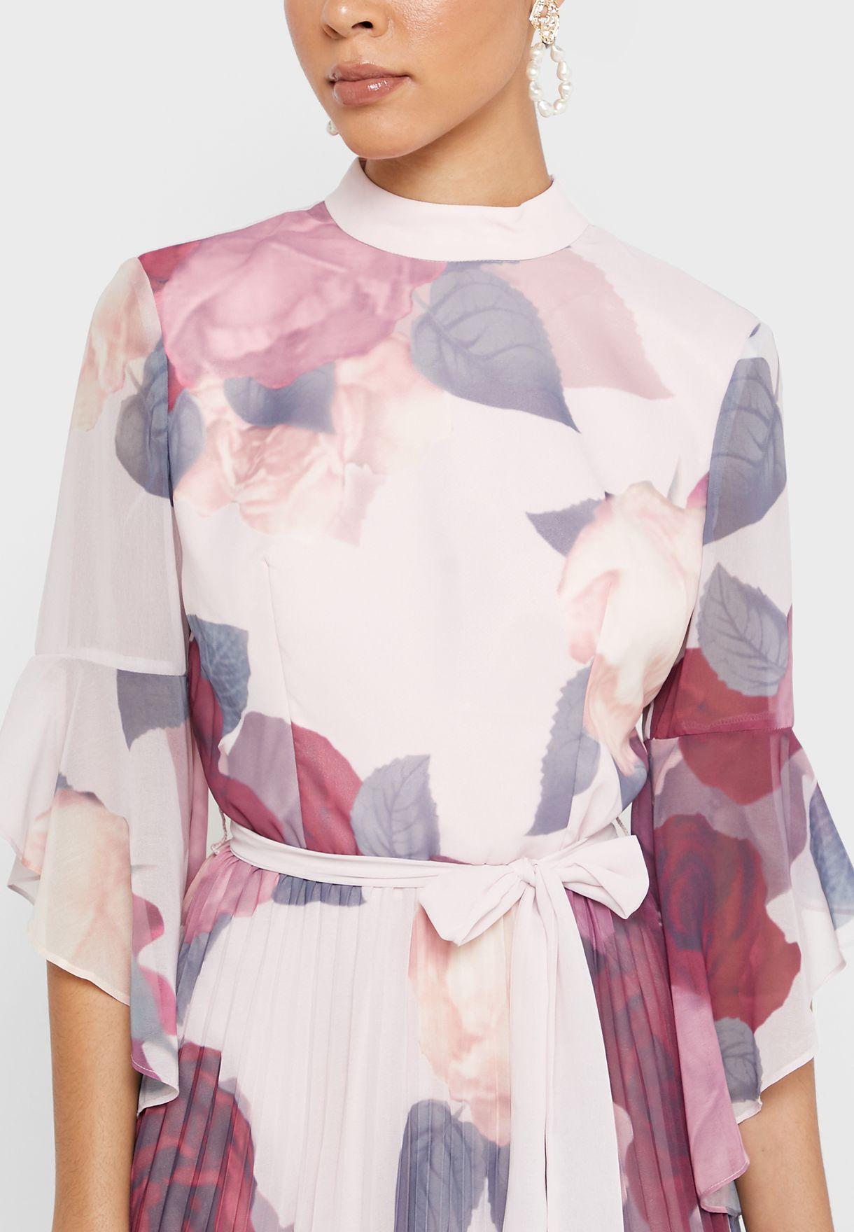 Ruffle Sleeve Printed Plisse Dress