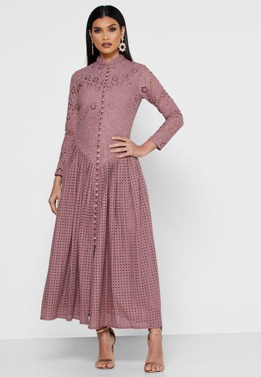 Button Through Pleated Schiffli Dress