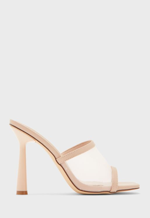 Mesh Mule Sandal With Rounded Heel