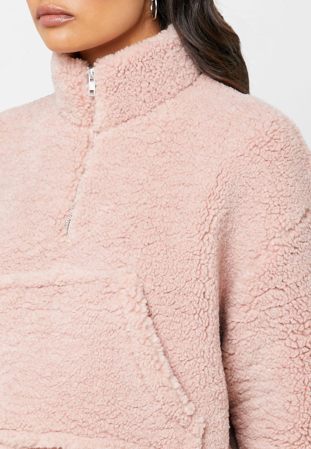 Faux Fur Pocket Detail Sweater