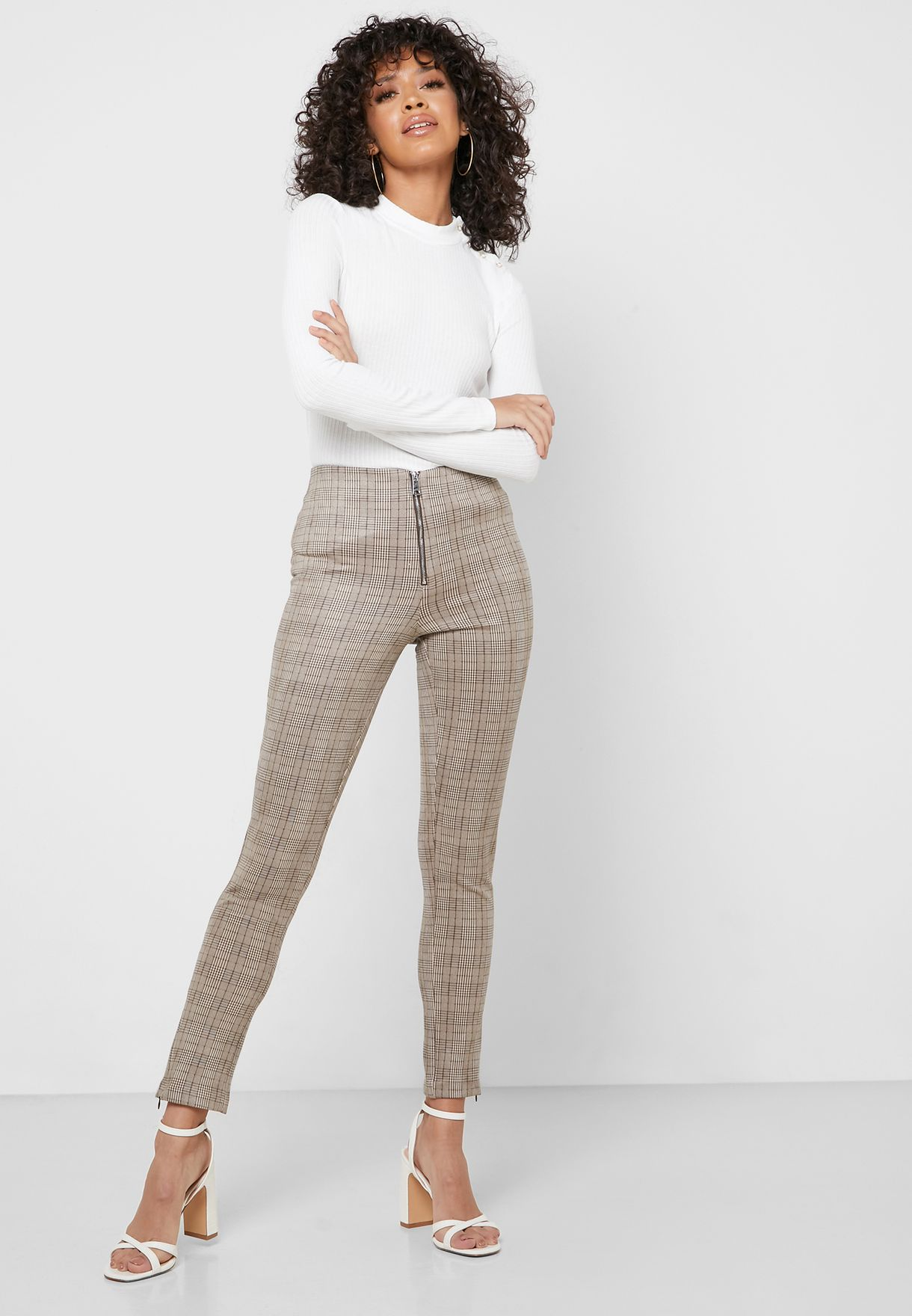 Zip Up Checked Pants