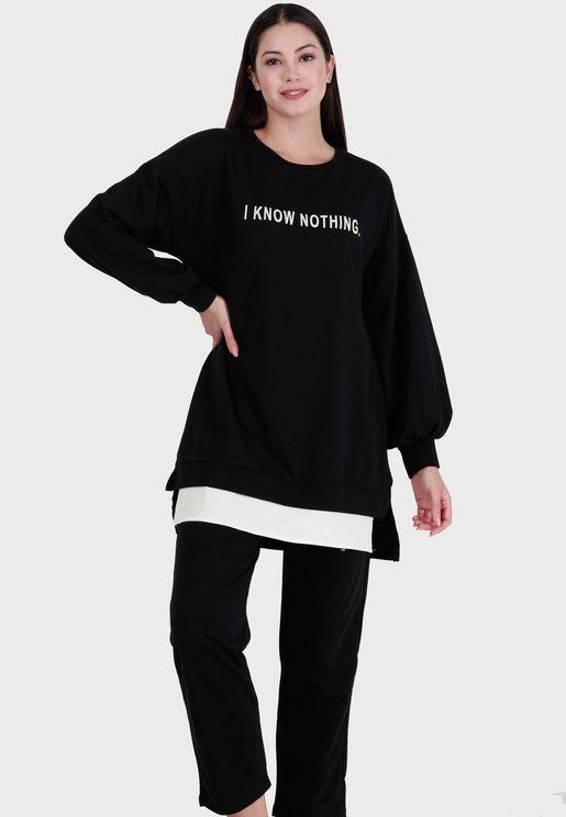Crew Neck Sweatshirt & Pants Set