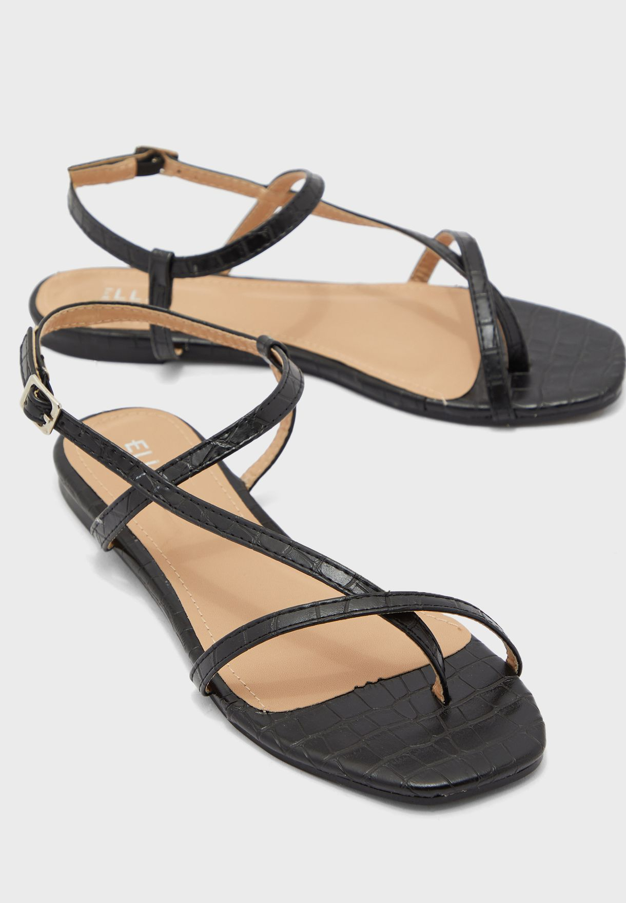 Square Toe Strappy Flat Sandals