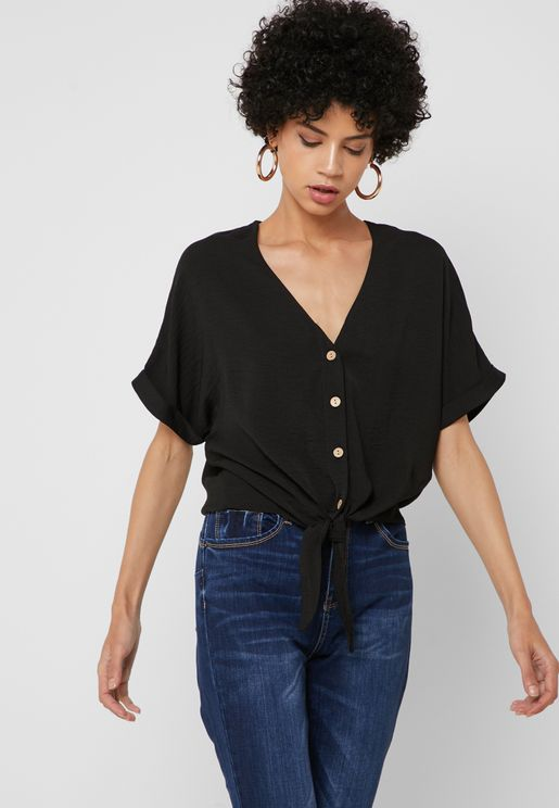 d7145364cd513 Front Tie Button Down Top. New Look