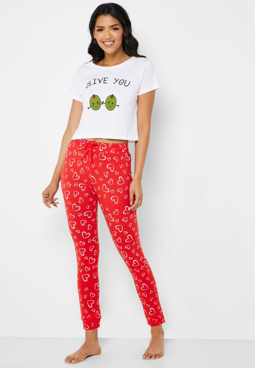 Printed Slogan Pyjama Set