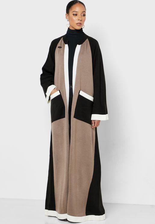 Colorblock Pocket Detail Woollen Abaya