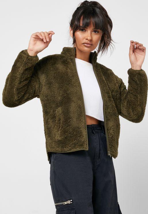 Zip Through Faux Fur Jacket