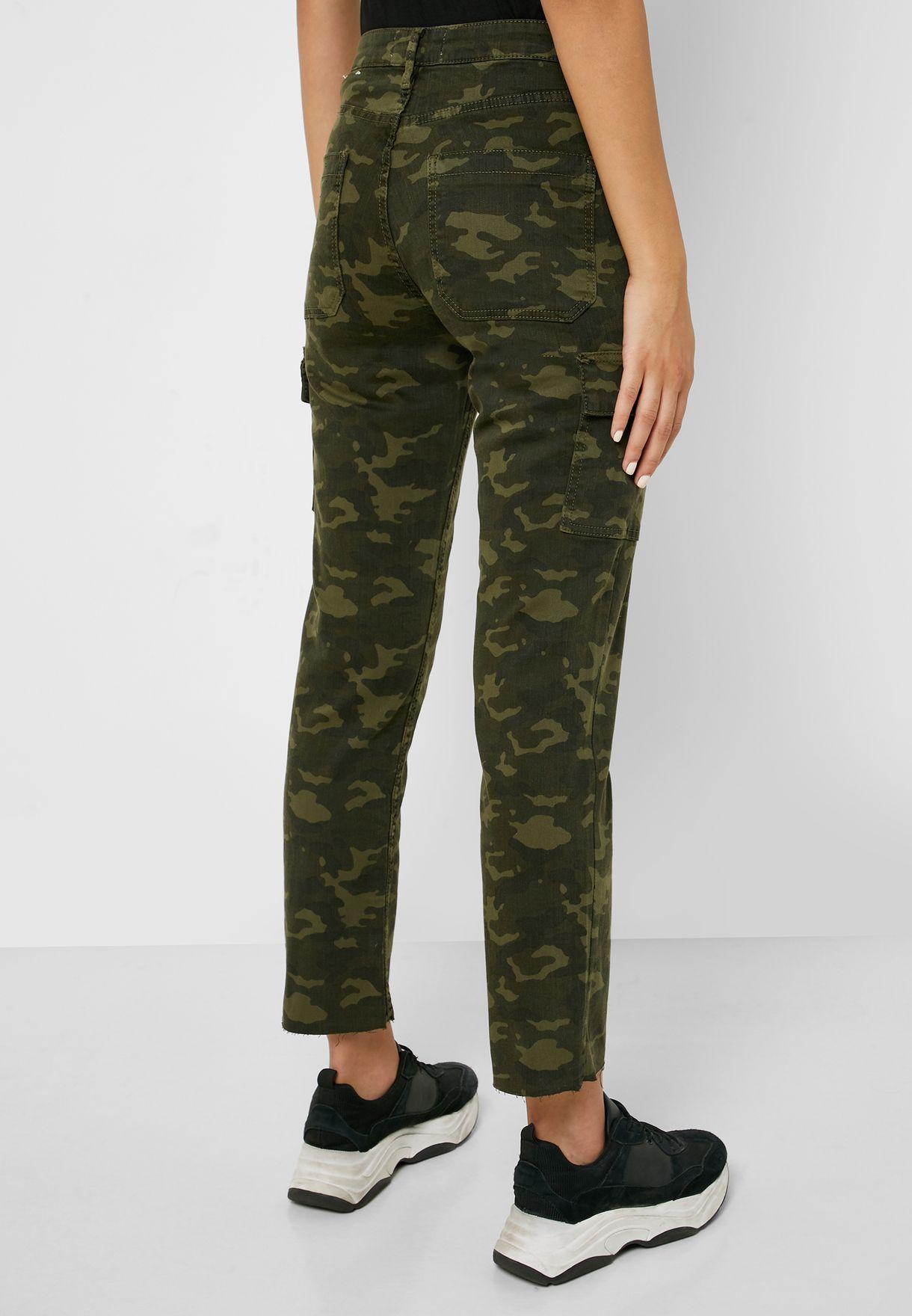 Camo Print Ankle Grazer Cargo Jeans