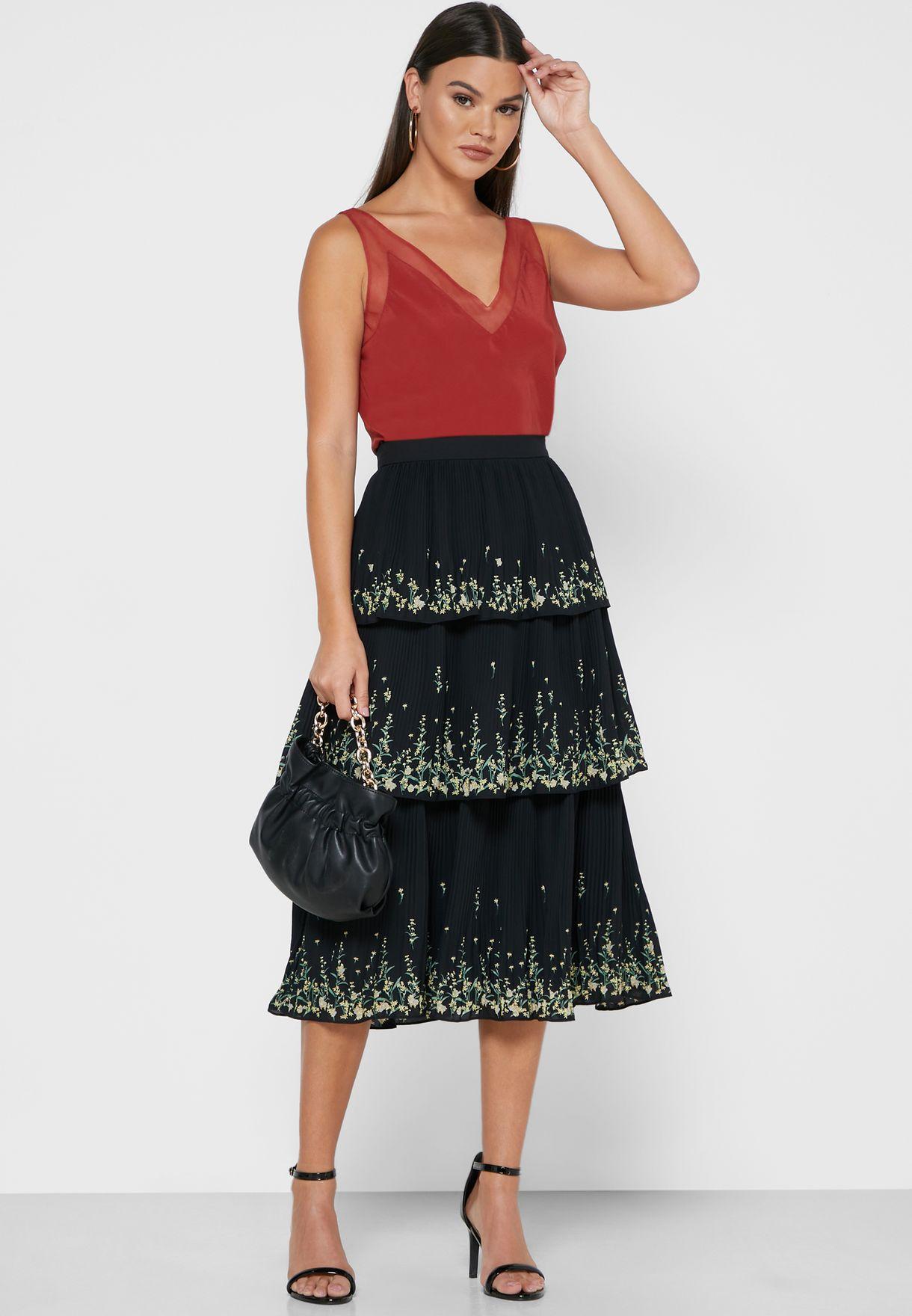 Carsena Pleated Midi Skirt
