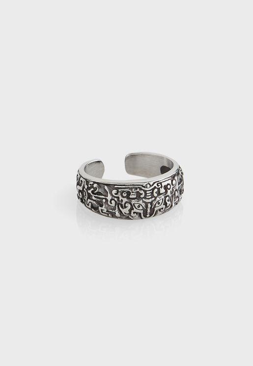 Aztec Texture Adjustable Ring