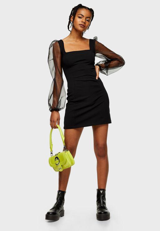 Mesh Sleeve Square Neck Dress