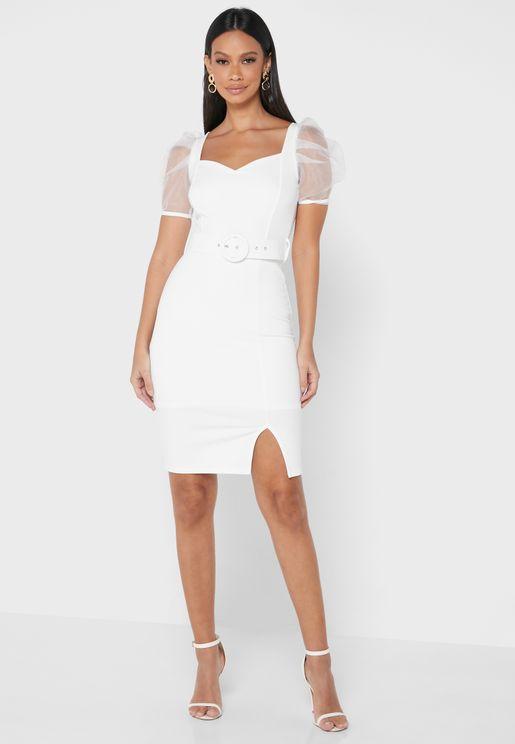 فستان باكمام شفافة