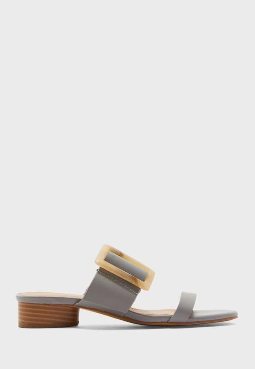 Buckle Detail Low Heel Sandal