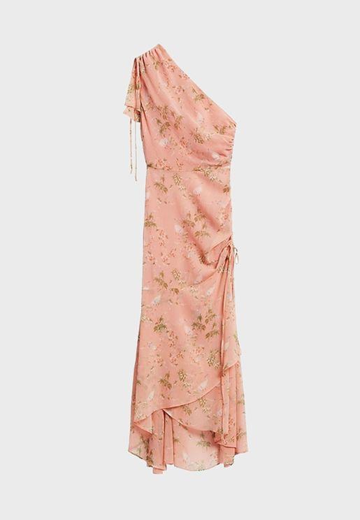 One Shoulder Printed Dress