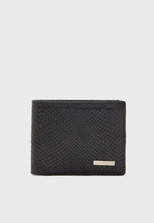 Leather Croc Embossed Bi-Fold Wallet