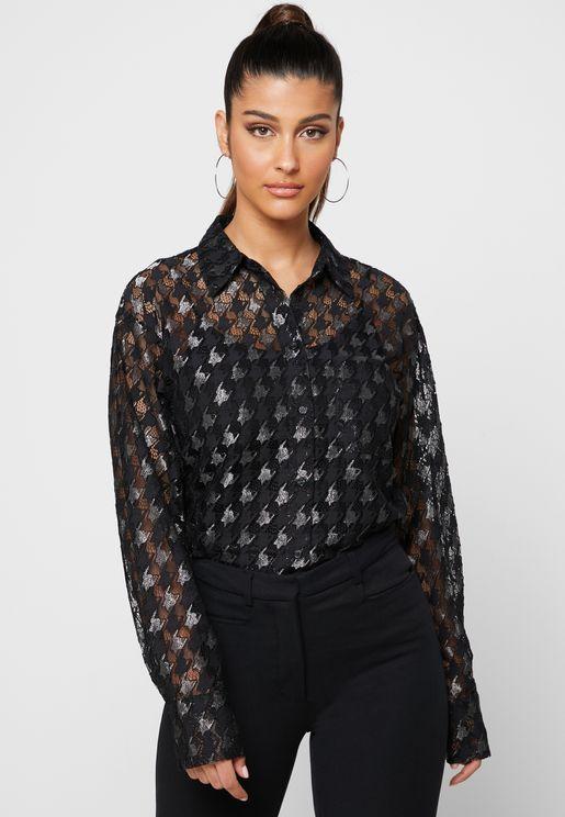 Pepita Lace Pocket Shirt