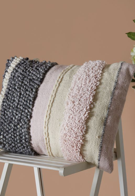 """Pink & Grey Rectangle Tufted Cushion - 18""""X24"""""""