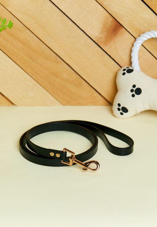 Basic Leather Dog Leash - Black