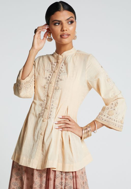 Embroidery Detail Wide Sleeve Kurti