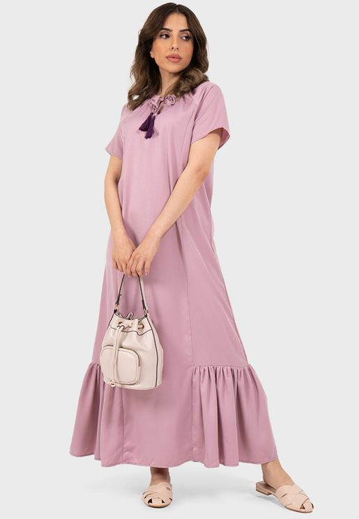 Tie Neck Pleated Hem Dress