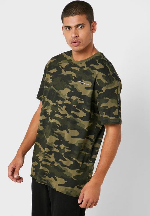 Oversized Camo Logo Tape T-Shirt