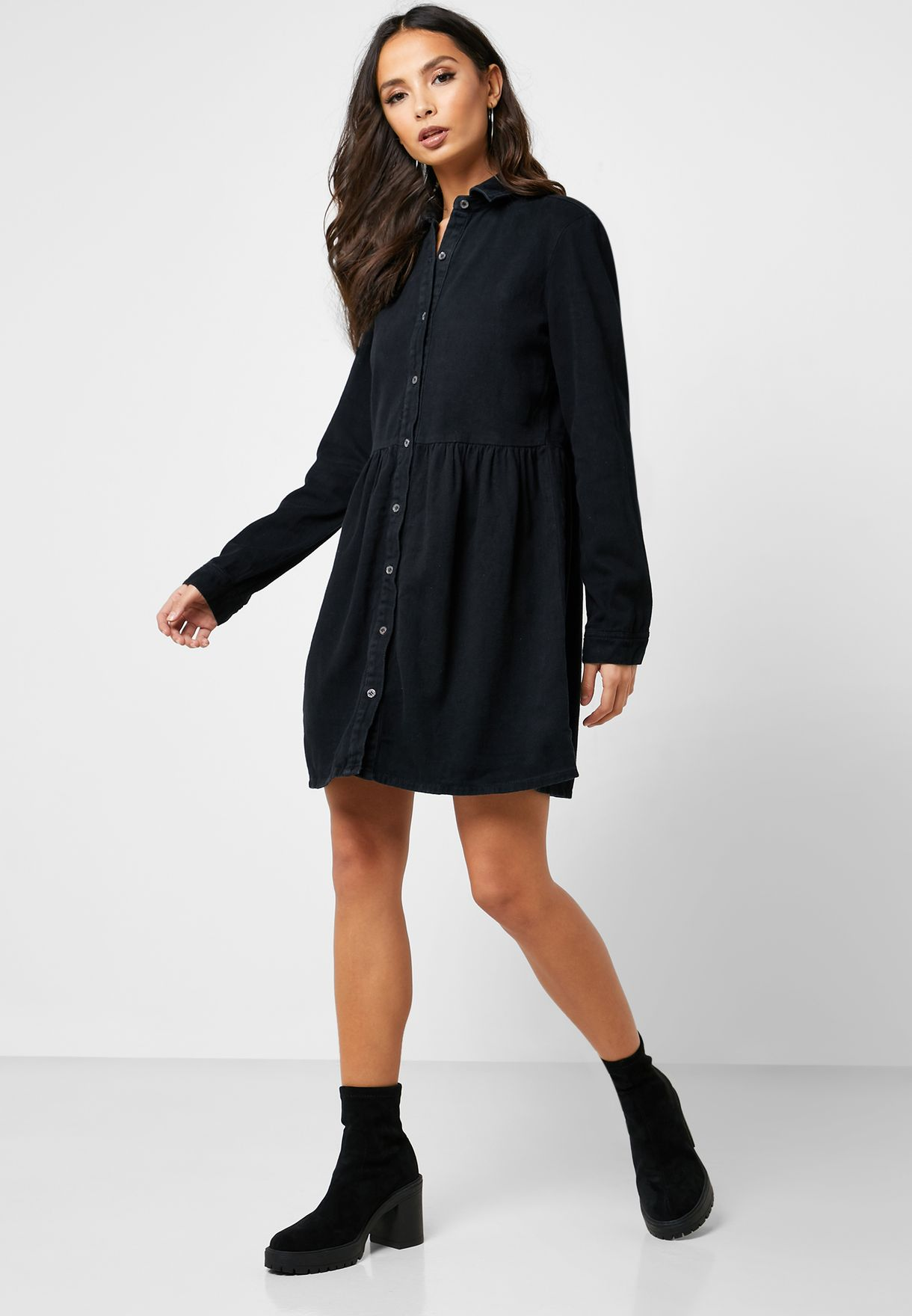 Denim Button Down Ruffle Hem Dress