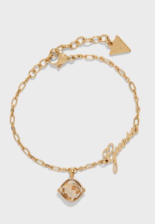 Small Chain Stone Charm Bracelet