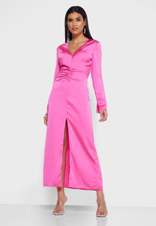 Population Ruched Waist Slit Dress