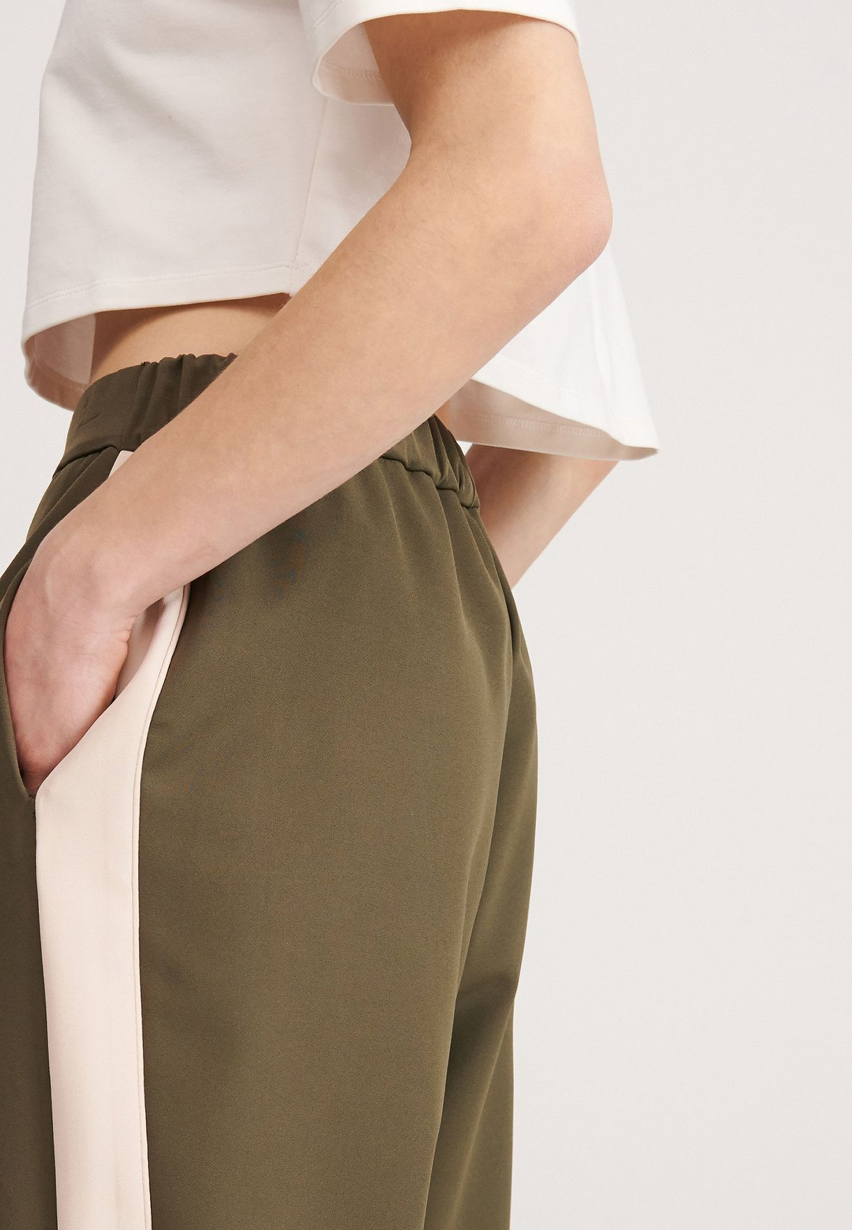 Side Striped Cuffed Pants
