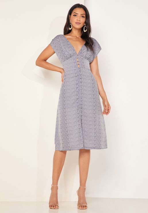 Catalina Shirred Waist Plunge Dress
