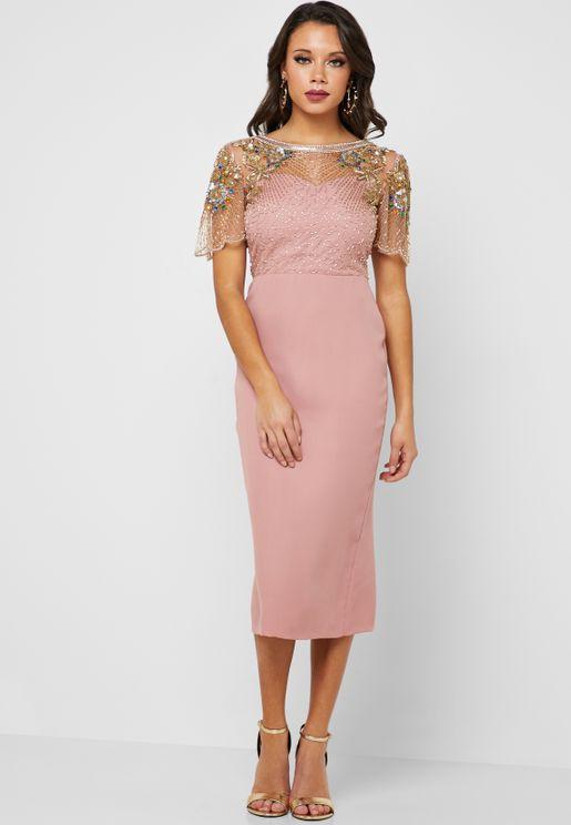 Reigna Lace Trim Bodycon Dress