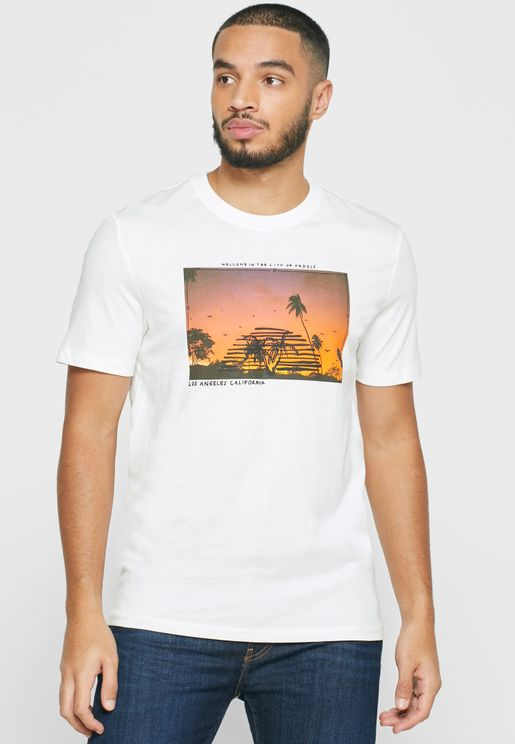 Beach Photo Crew Neck T-Shirt