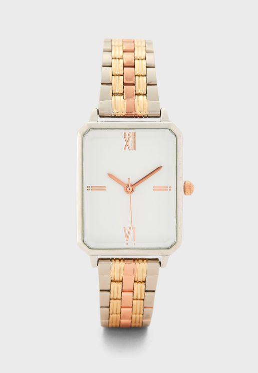 Tri Tone 5 Link Bracelet Rectangle Watch