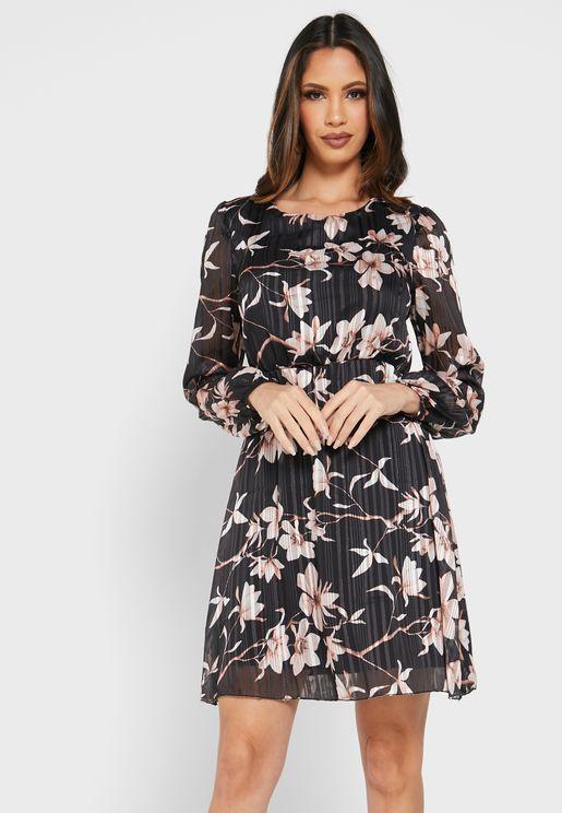 فستان سكاتر مزين بطباعة ازهار