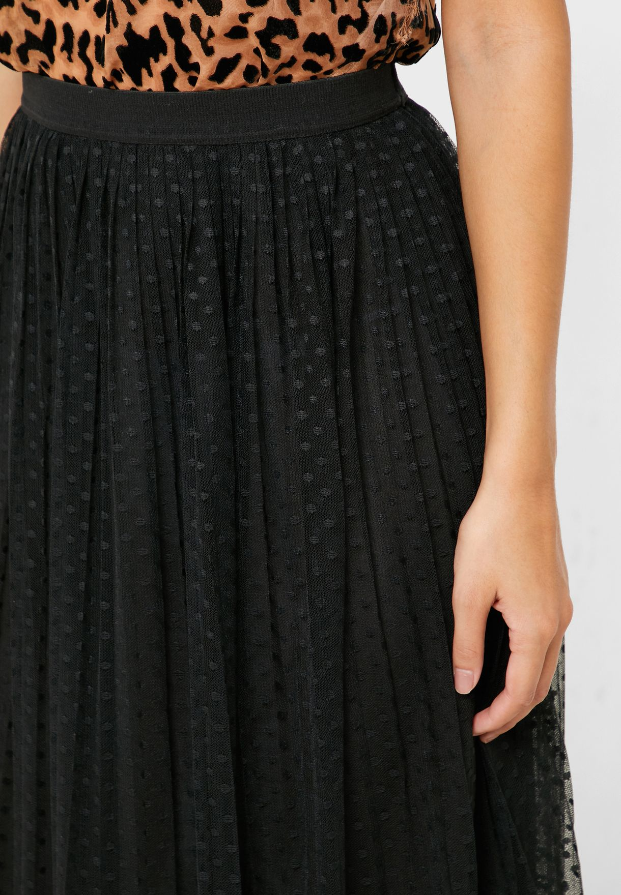 Polka Dot Sheer Overlay Skirt